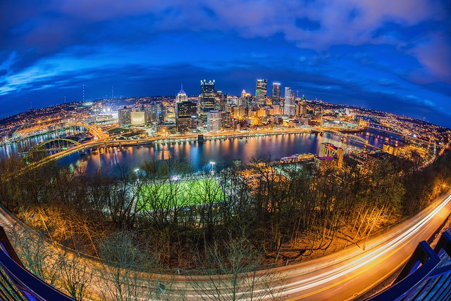 Pittsburgh skyline and P.J. McCardle Roadway as seen from Mt. Washington through a fisheye lens HDR