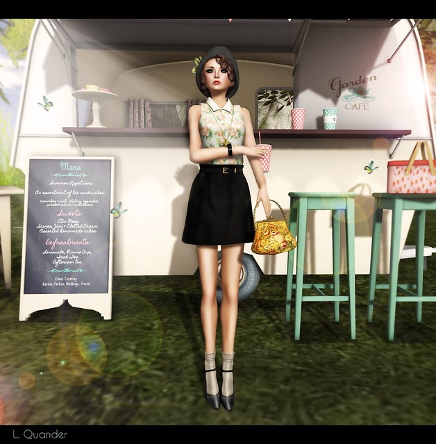 NYU & Beehive Collab - Floral Shirts & Flared Mini-Skirt and {what next} Garden Cafe Caravan