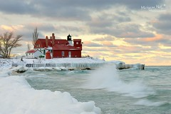 """February Girl"" Point Betsie Lighthouse by Michigan Nut"