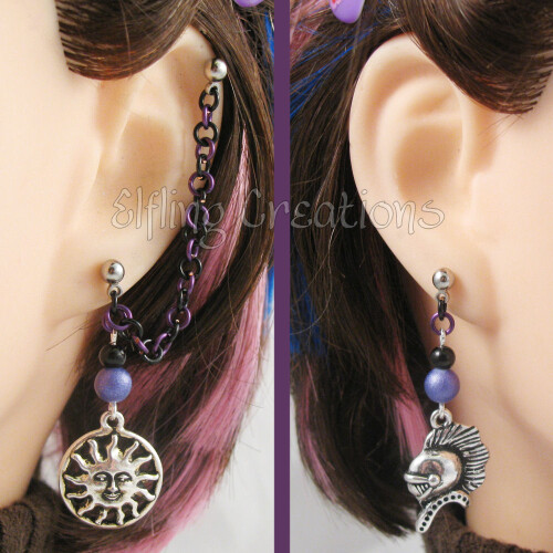 Purple and Black Sun and Knight Cartilage Chain Earrings