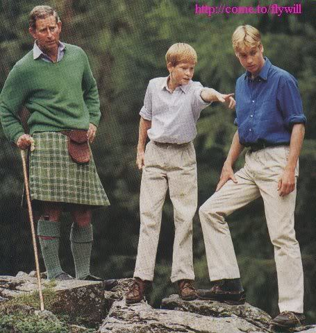 1997- August 16, 1997 - Prince Charles with Prince William and Prince Harry in Balmoral.
