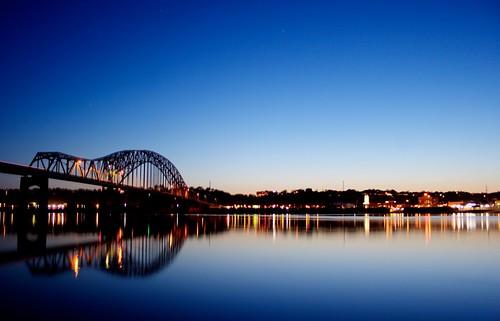 sunset river canon20d bridges dubuqueia canon1855mmefs