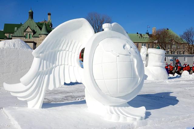 Quebec Winter Carnival snow sculptures, planning for bonnome carnaval