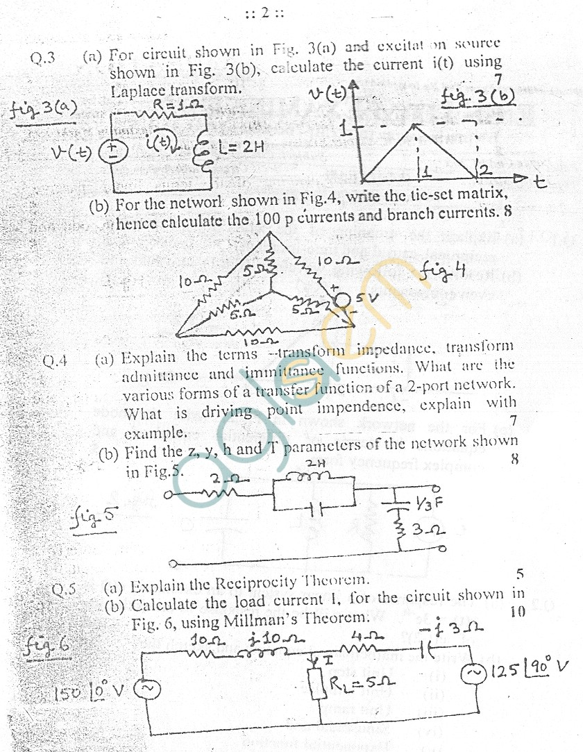 GGSIPU Question Papers Third Semester – End Term 2005 – ETEC-205
