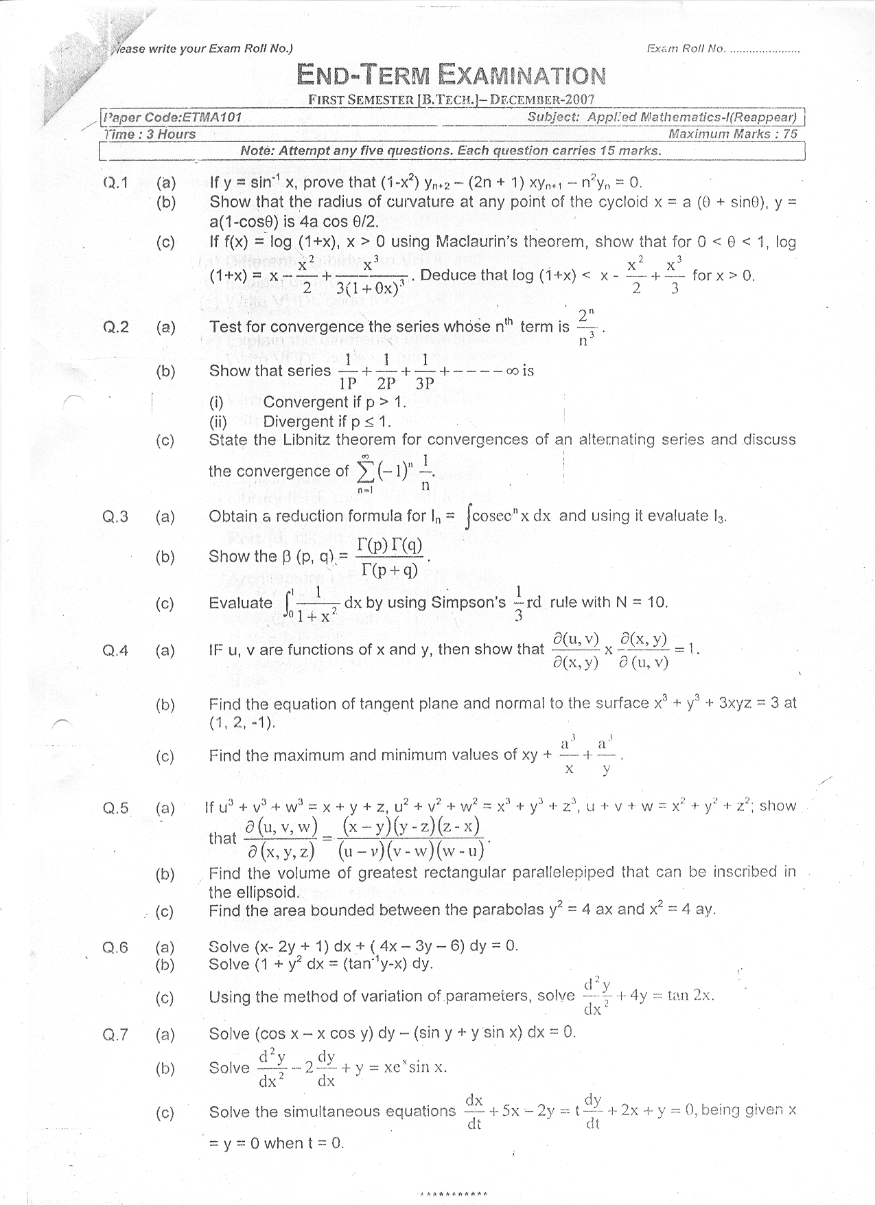 GGSIPU: Question Papers First Semester – end Term 2007 – ETMA-101