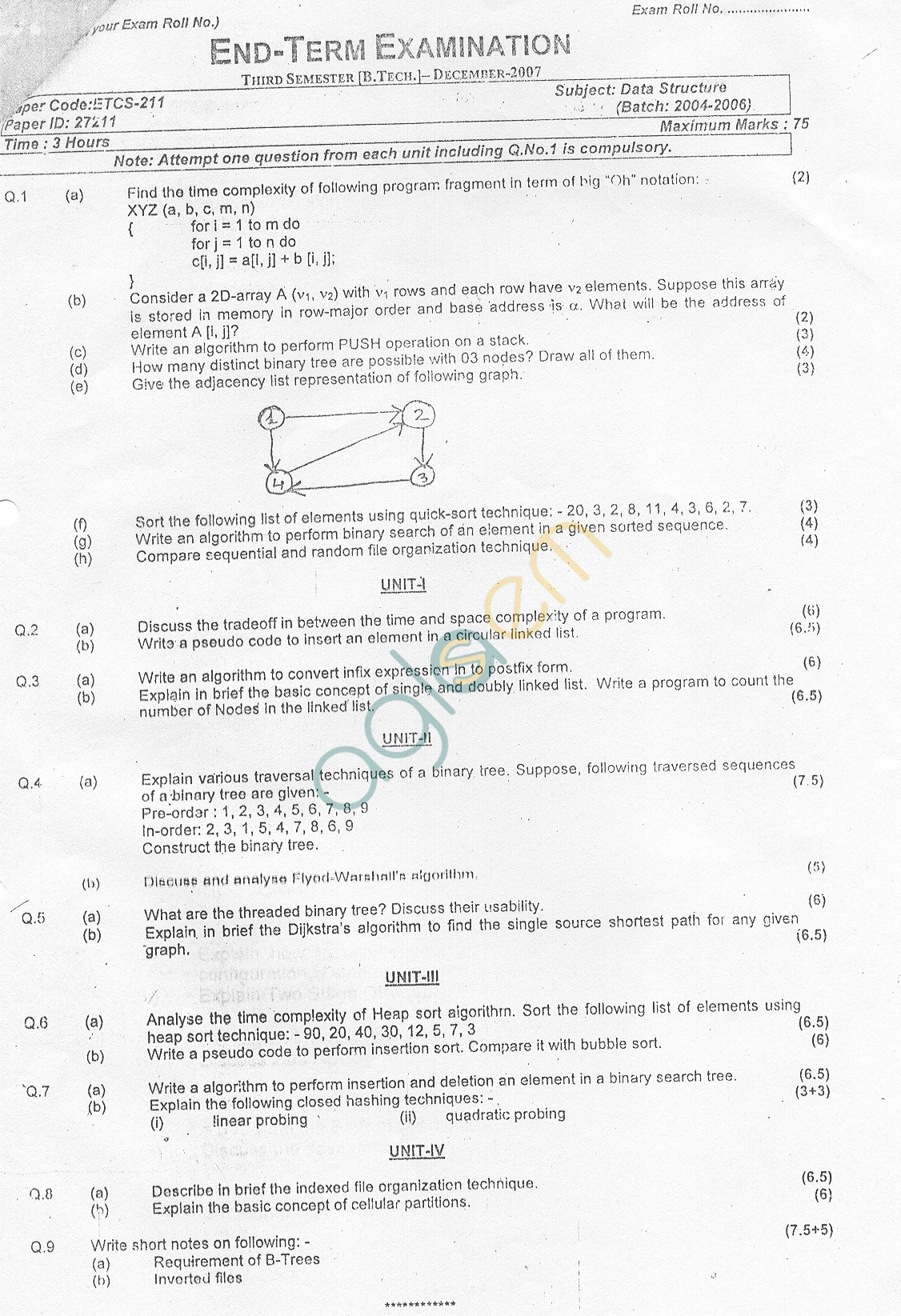 GGSIPU: Question Papers Third Semester – End Term 2007 – ETCS-211