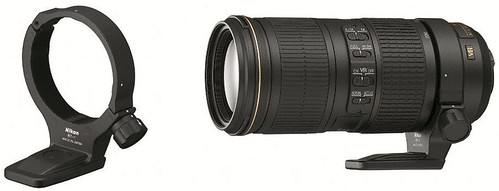 Nikon 70-200mm f/4G VR with optional RT-1 tripod collar ring attached