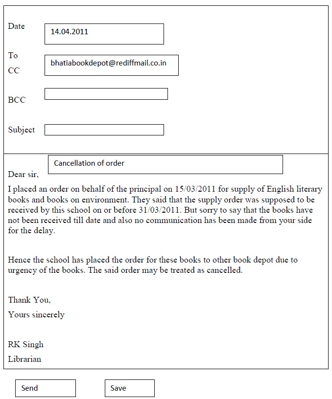 Cbse class x english support material writing letter aglasem write an email to bhatia book depot ahmedabad requesting them to cancel your order for english literary books and books on environment thecheapjerseys Gallery