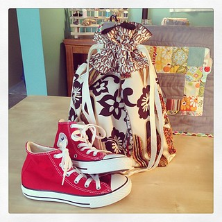 Channeled my inner @missletterm and made a @jenib320 drawstring bag to hold my nephew's birthday Chucks! ☺