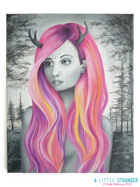 Black And White Girl Painting
