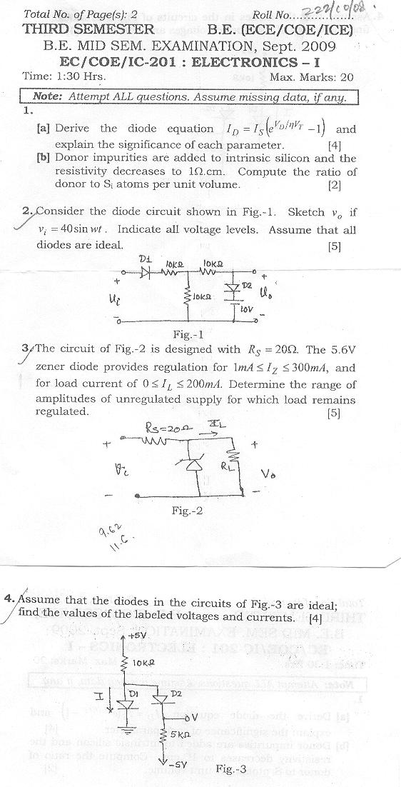 NSIT: Question Papers 2009 – 3 Semester - Mid Sem - EC-COE-IC-201