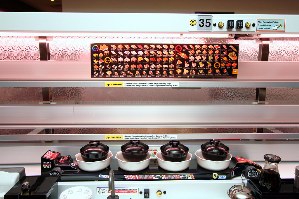 Genki Sushi: Like Shinkansen bullet train travelling on a track directly to the diner's table