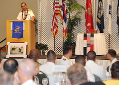 Adm. Cecil D. Haney addresses attendees of the 5th annual Boots on the Ground Individual Augmentee (IA) Recognition Luncheon hosted by the Navy League of the United States Honolulu Council, Feb. 28. (U.S. Navy photo by Mass Communication Specialist 2nd Class David Kolmel)