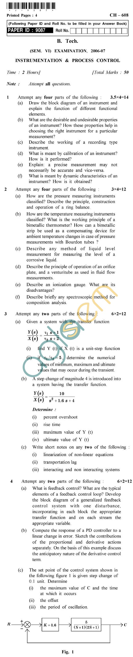 UPTU  B.Tech Question Papers - CH-608 - Instrumentation & Process Control