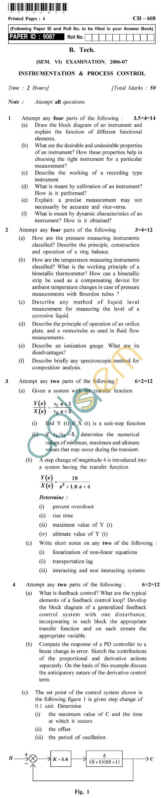 UPTU B.Tech Question Papers - CH-608 - Instrumentation & Process Control