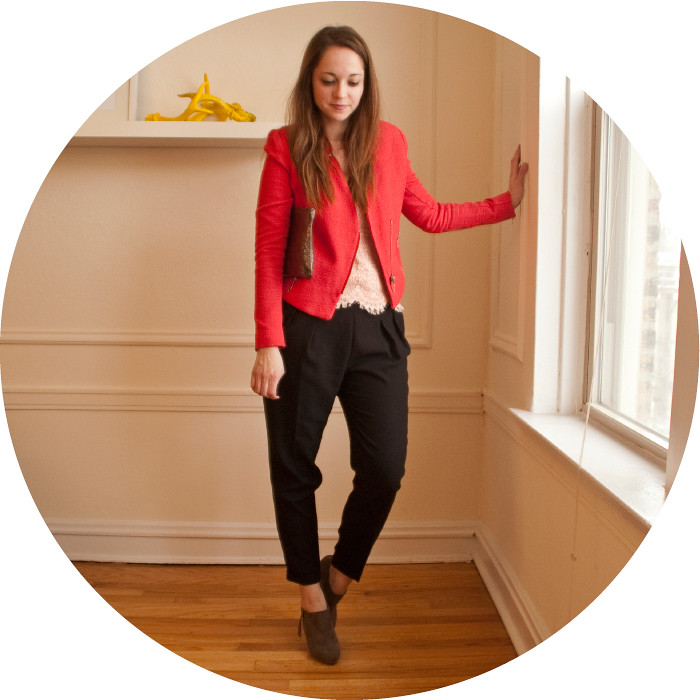 so much brightness, red moto jacket, red boucle jacket, red and pink, j.crew lace tee, zara black pleated pants, gray suede boots, boots with ankle pants, what to wear with, work outfit, hwo to wear