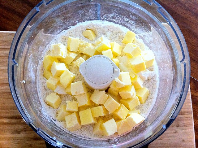 Cubed Butter Added to Flour