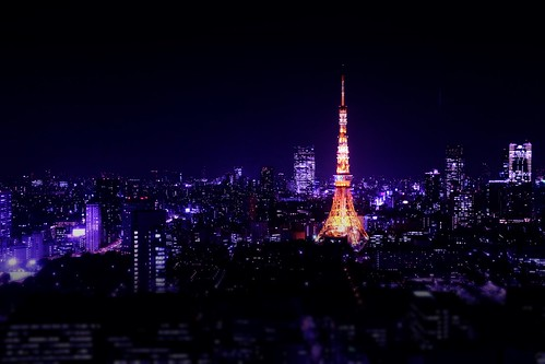 [Free Images] Architecture, City / Town, Tokyo Tower, Landscape - Japan, Night View ID:201303122000