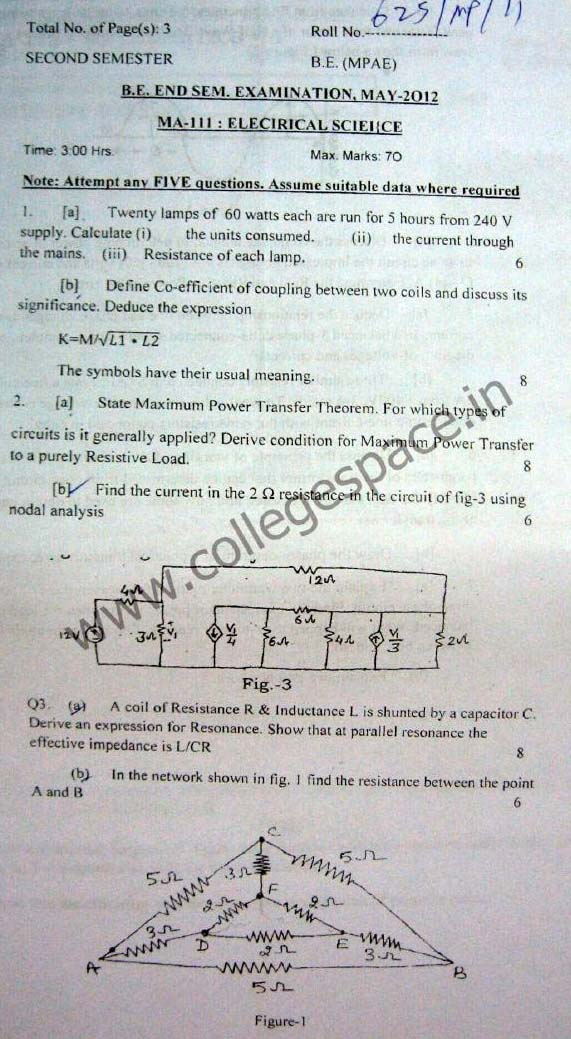 NSIT Question Papers 2012 – 2 Semester - End Sem - MA-111