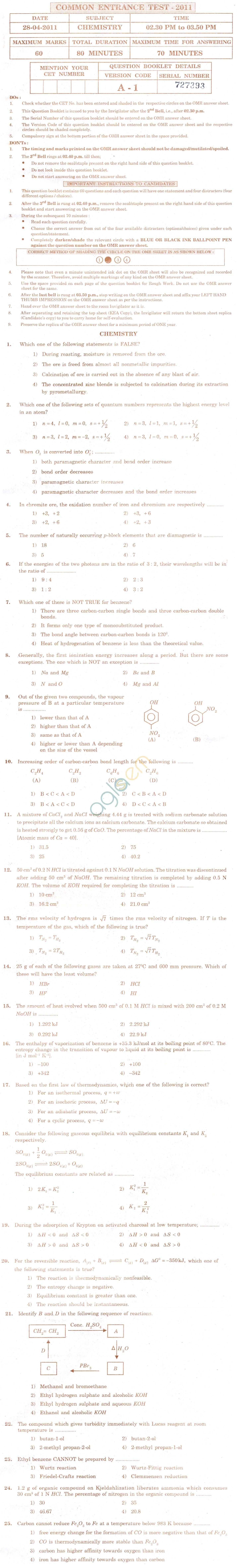 KCET 2011 Question Paper - Chemistry
