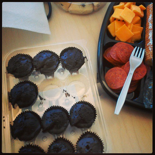 I'm so into the low carb thing that these damn chocolate cupcakes are DEAD to me. #meatandcheese4lyf