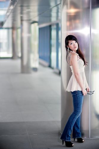 [フリー画像素材] 人物, 女性 - アジア, ジーンズ, 台湾人 ID:201303160800