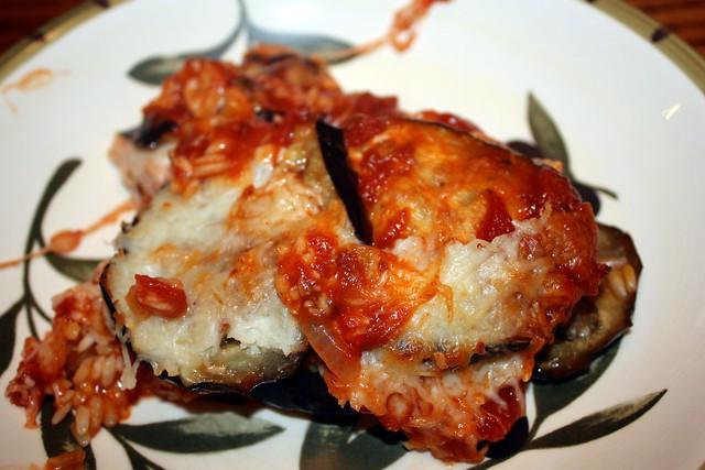 eggplant saffron rice bake