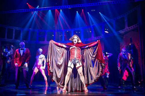 Rocky Horror Show 2013 tour. Oliver Thornton as Frank'n'Furter with cast. Production photography: Manuel Harlan