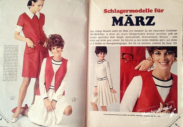 marchewkowa, szycie, blog , krawiectwo, retro, vintage, moda, fashion, Burda Moden 3/1968