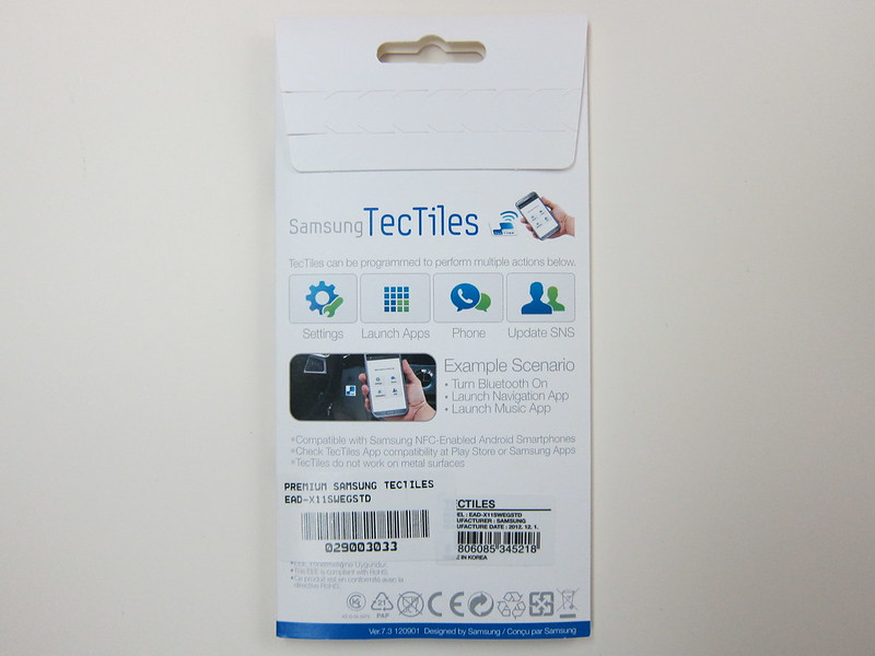 Samsung TecTiles NFC Tags - Packaging Back View