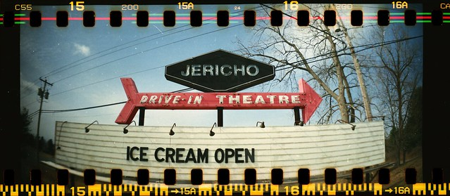 Jericho Drive-In Theater sign, Glenmont, N.Y. - Ice Cream Open