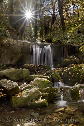 sunrise waterfall tennessee fallfoliage greatsmokymountainnationalpark rainbowfallstrail