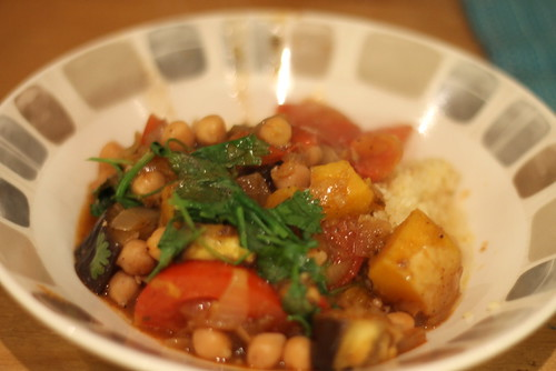 Vegetable tagine recipe, butternut squash, chickpeas, aubergine
