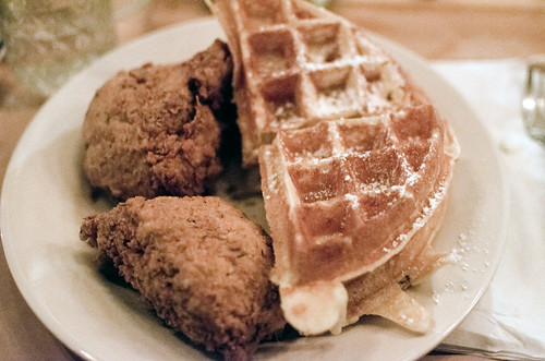 vegetarian chicken & waffles
