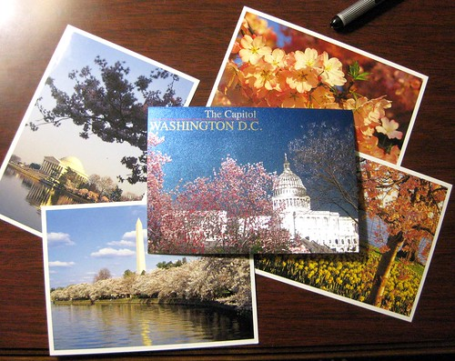 Washington, DC postcards in a DC hotel