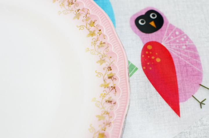 pink vintage dinner plate