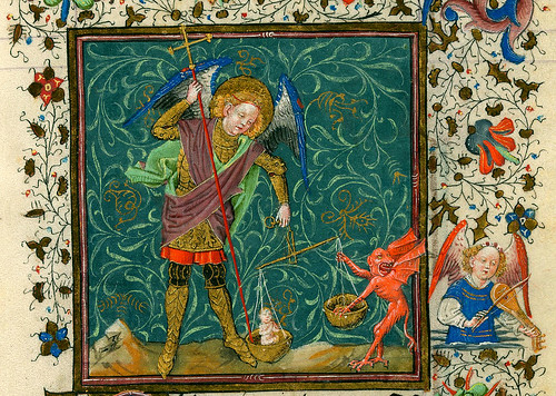 Archangel Saint Michael weighing a soul and struggling with a devil by petrus.agricola
