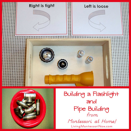 Building a Flashlight and Pipe Building from Montessori at Home