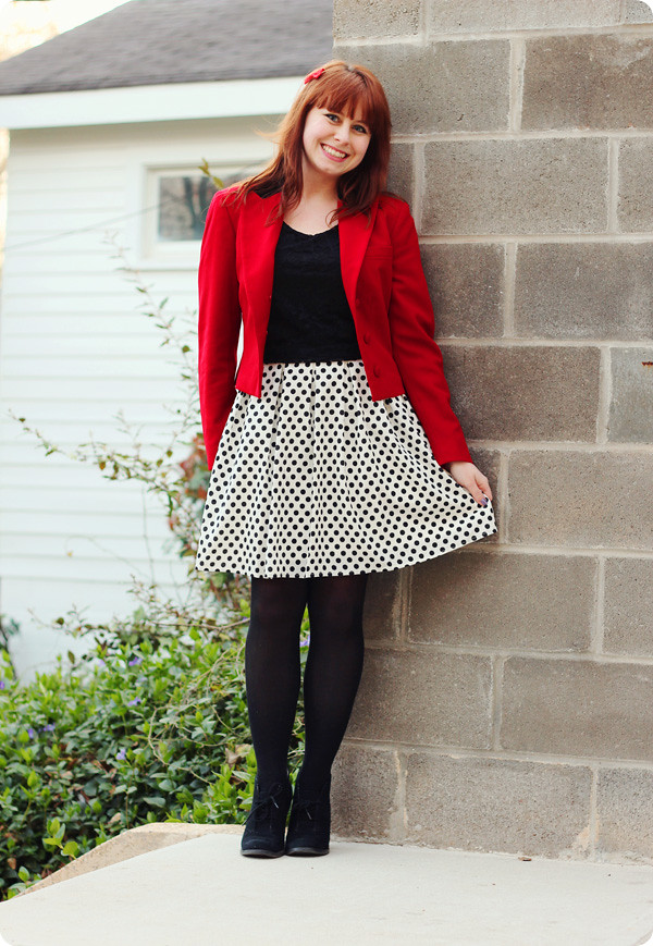 Dotted Dress Lace Top A Red Blazer Petite Panoply