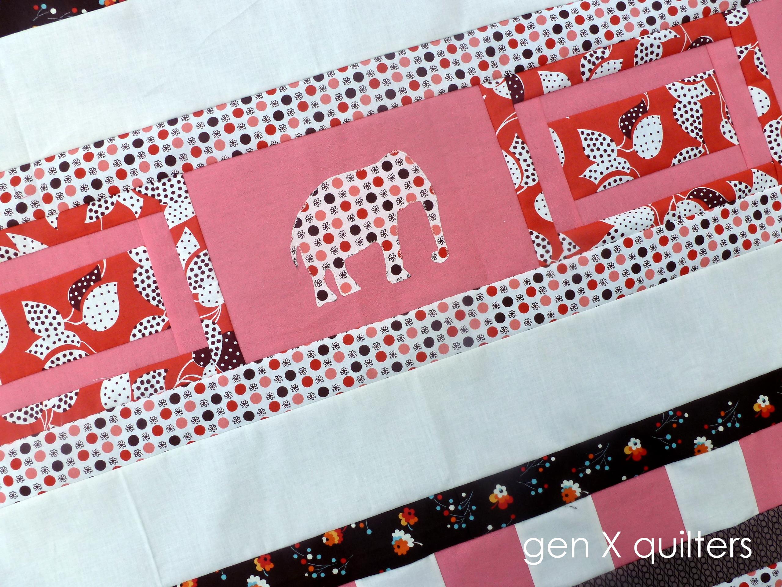 elephant parade quilt 2 applique close up