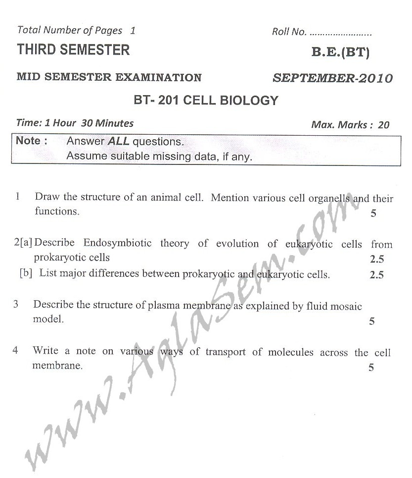 DTU Question Papers 2010 – 3 Semester - Mid Sem - BT-201
