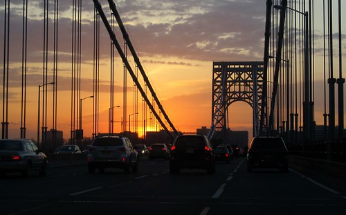 Driving on the George Washington Bridge at sunset