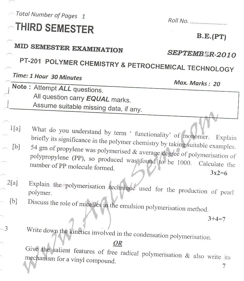 DTU Question Papers 2010 – 3 Semester - Mid Sem - PT-201