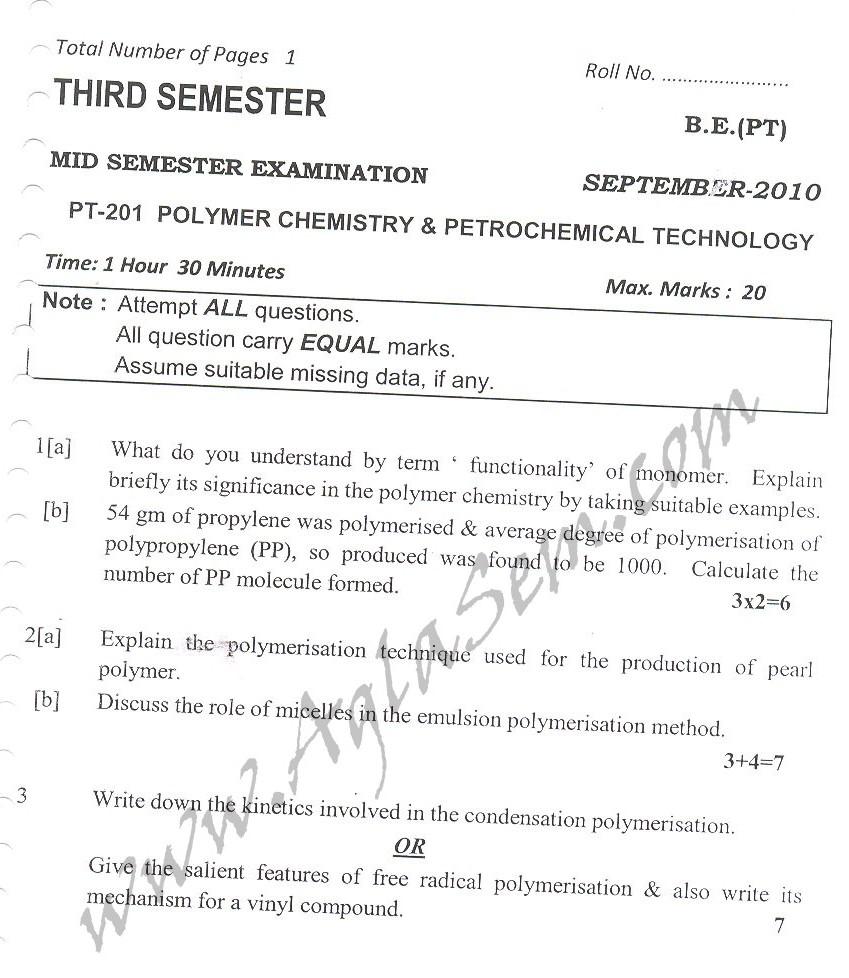 DTU Question Papers 2010 – 3 Semester - Mid Sem - PT-201