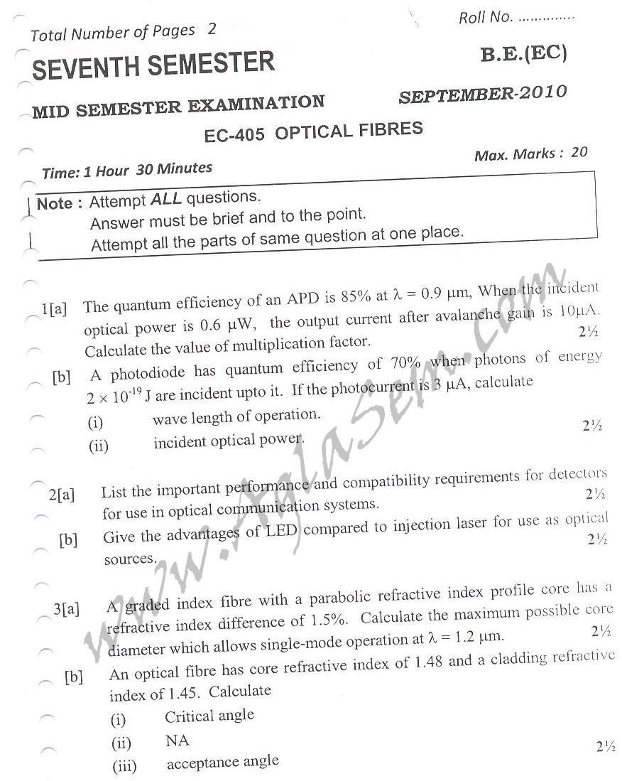 DTU Question Papers 2010 – 7 Semester - Mid Sem -  EC-405
