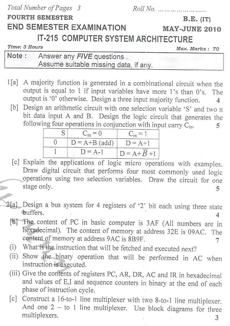 DTU Question Papers 2010 – 4 Semester - End Sem - IT-215