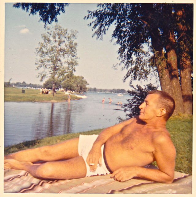 Vintage Photo: 1960s Man In White Swim Trunks