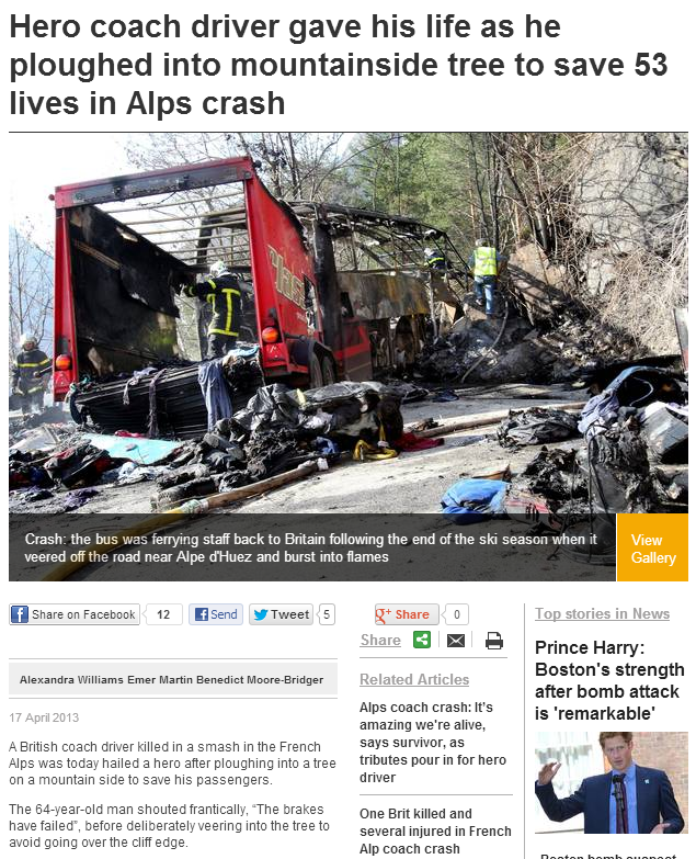 Hero coach driver gave his life as he ploughed into mountainside tree to save 53 lives in Alps crash   UK   News   London Evening Standard