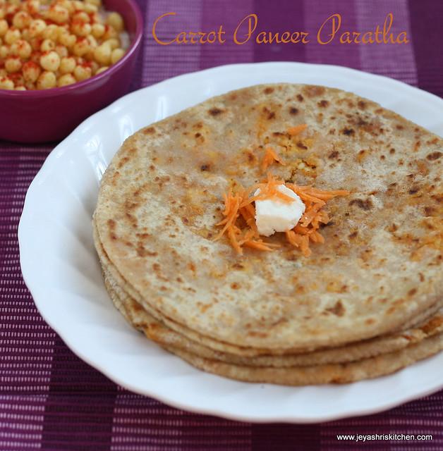 paneer carrot paratha