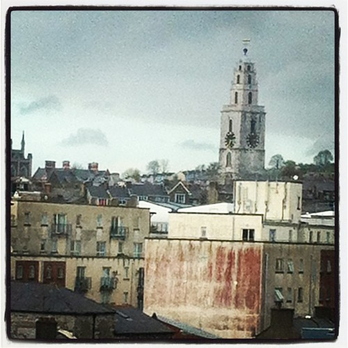 View from my hospital room is lovely. The four lairs are disagreeing by an hour. #Cork #Shandon